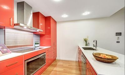 Red Kitchen Cabinet Bunja Maintenance Painting Melbourne